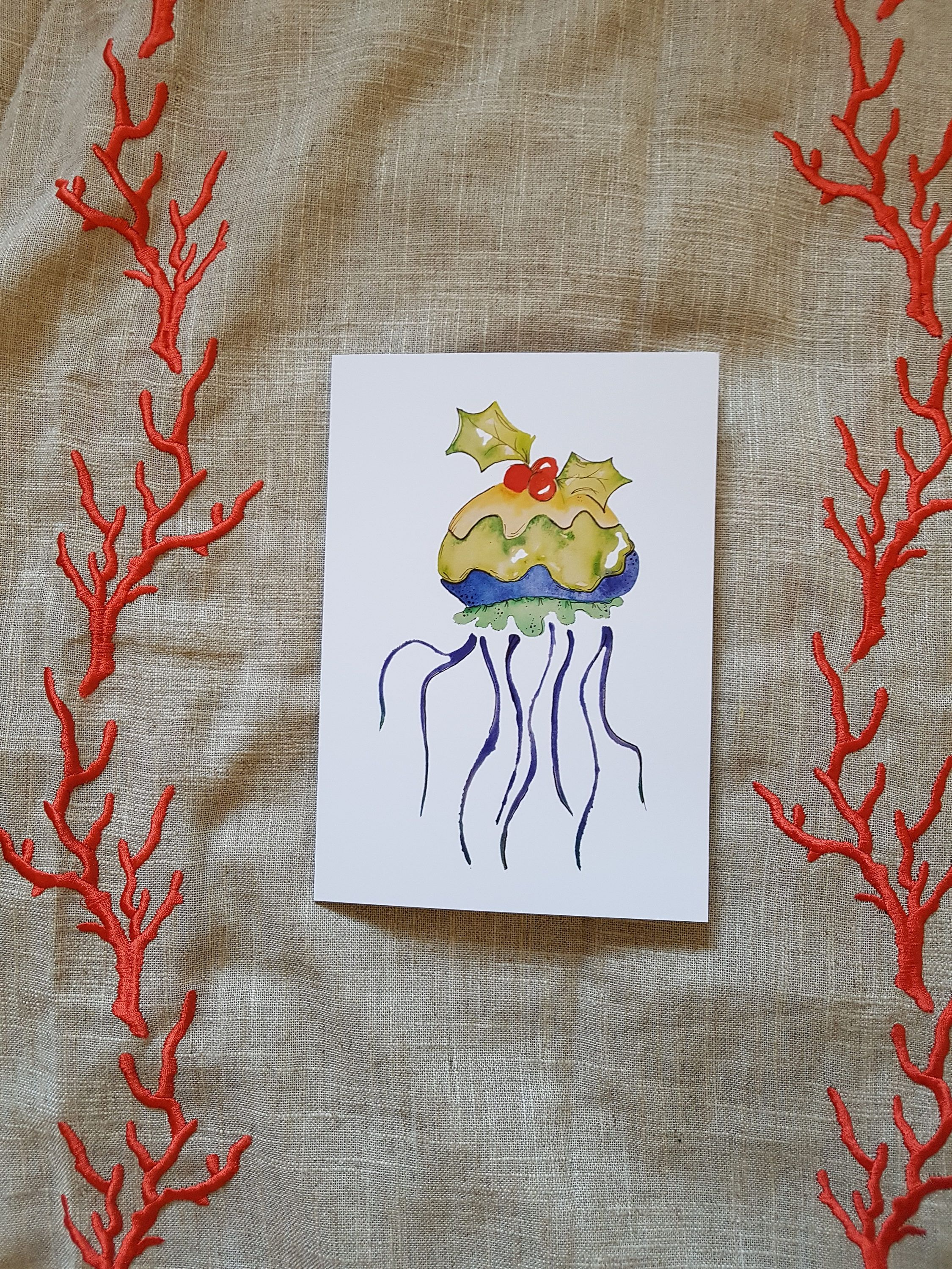 Jellyfish Christmas pudding nautical Christmas card by TheWaterBee ...