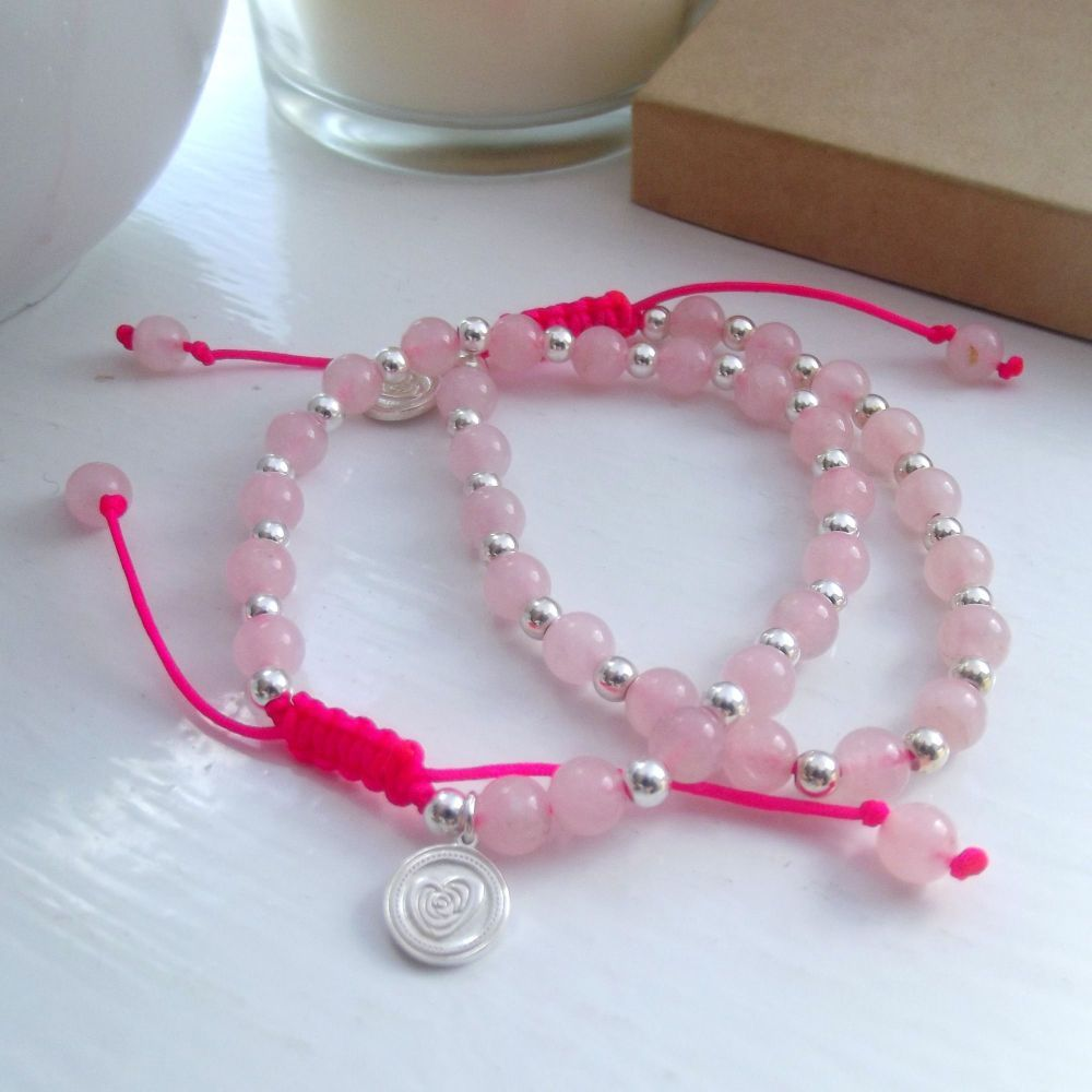 Neon Rose Quartz Bracelet | Friendship Bracelets | Neon Brights | Love Lily Rose