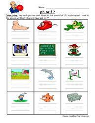 F or PH Worksheet   phonics   Pinterest   Worksheets, Phonics ...