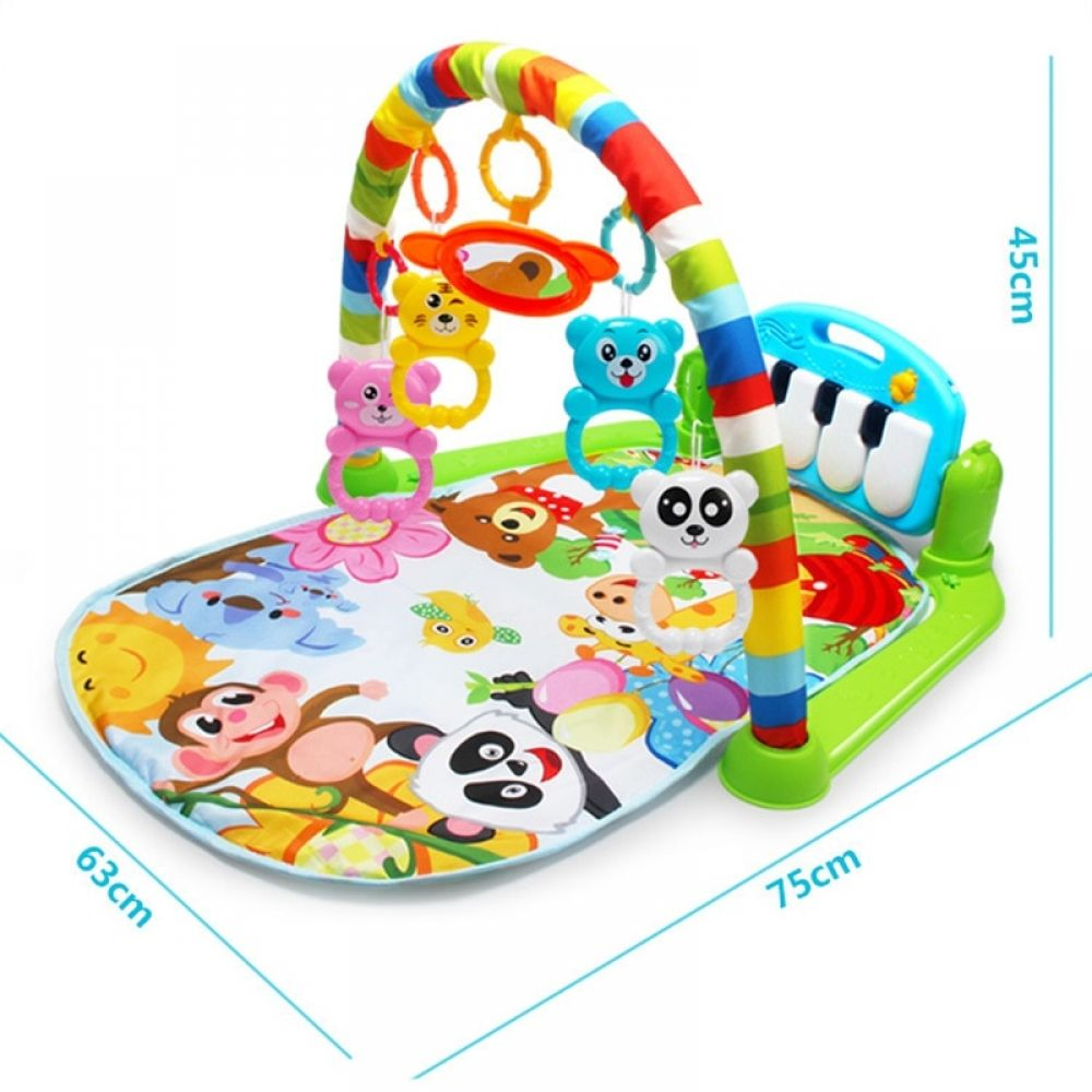 3 In 1 Baby Play Mat Rug Toys Kid Crawling Music Play Game Developing Mat With Piano Keyboard Infant Carpet Education Rack Toy Baby Play Gym Newborn Toys Baby Play Mat