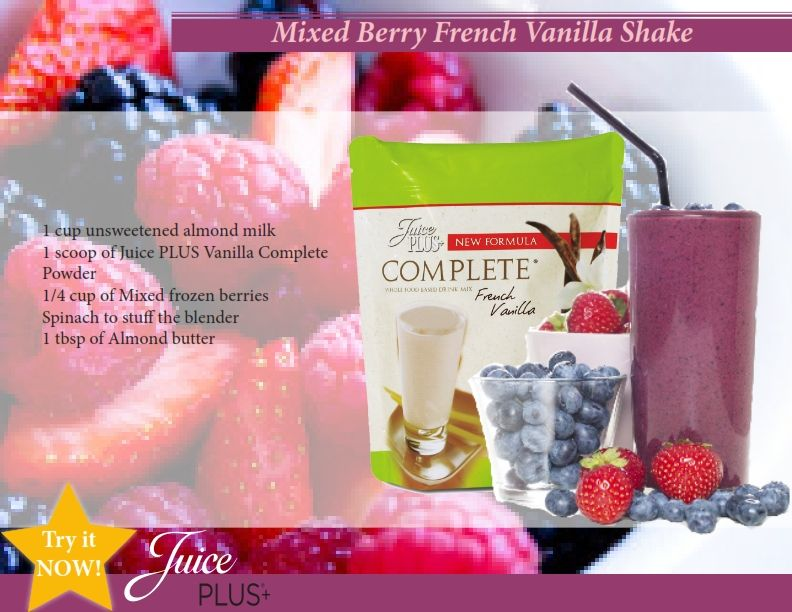 This one looks lovely, full of antioxidants from the berries and plant-based protein from the Complete shakes - find more information on the shakes at www.juiceplus.co.uk/+kf50401