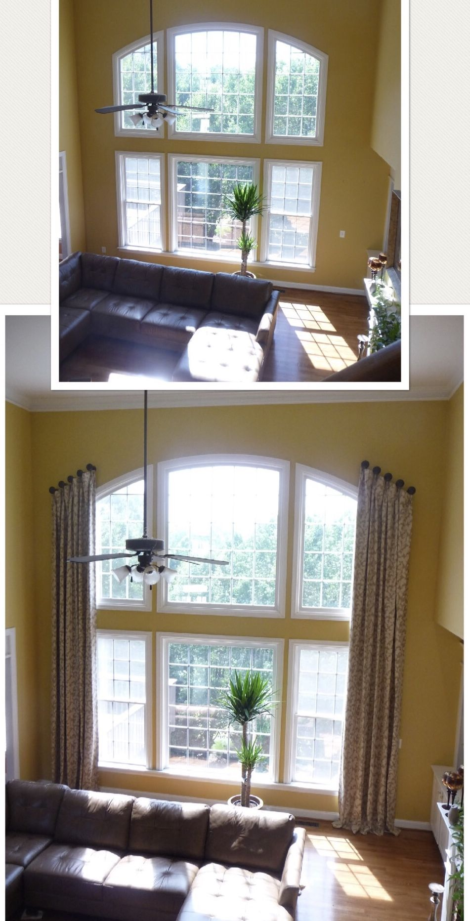 Window coverings for 2 story windows  family room custom panels installed on medallions to be able to