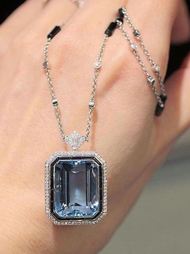 3f87953fc6019 Details about Light Blue Emerald Cut Halo Pendant Onyx Yard Necklace ...