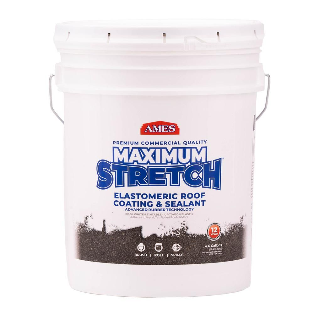 Ames 5 Gal White Maximum Stretch Rubber And Acrylic Reflective Roof Coating Mss5 The Home Depot Roof Coating Rubber Roof Coating Steel Roof Panels