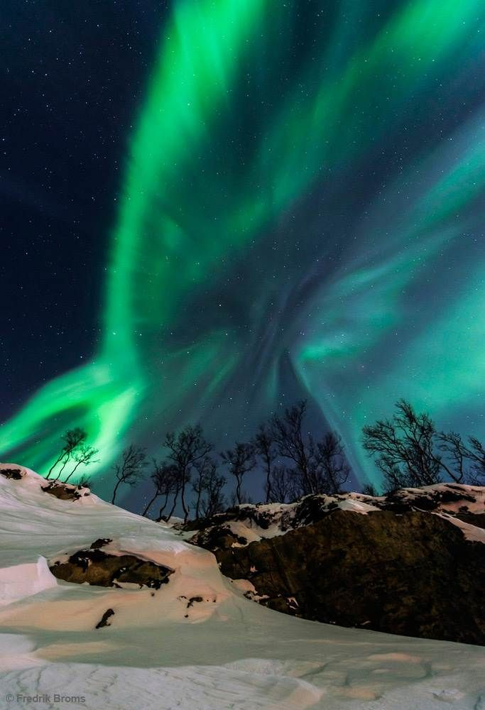 Solar storm Solar Storm shows an aurora borealis near Tromso, northern Norway. The picture was taken by Fredrik Broms (http://www.northernlightsphotography.no), and won fourth place in the Beauty of the Night Sky category.