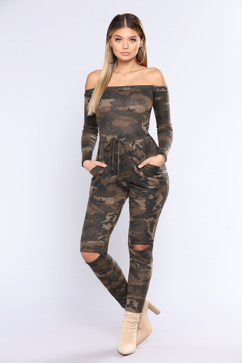 Fall /& Winter Women Long Sleeves Stripes Camouflage Print Bodycon Jumpsuits 2pcs