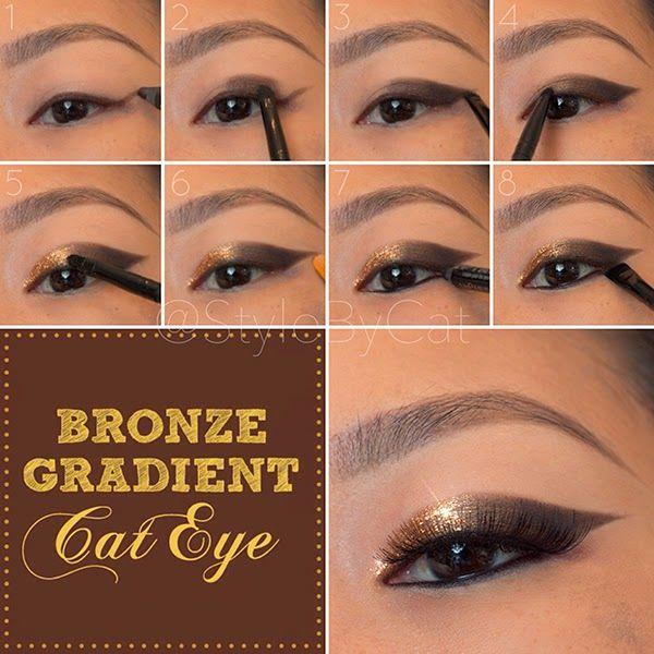 Style By Cat Metallic Bronze Gradient Cat Eye Tutorial Cat Eye