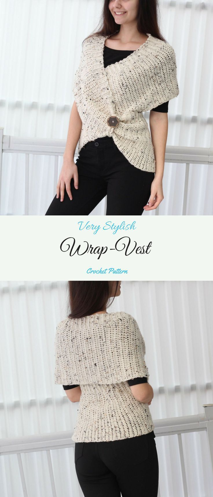 Stylish Wrap Vest / Poncho /Sweater Crochet Pattern #etsy #ad #diy ...