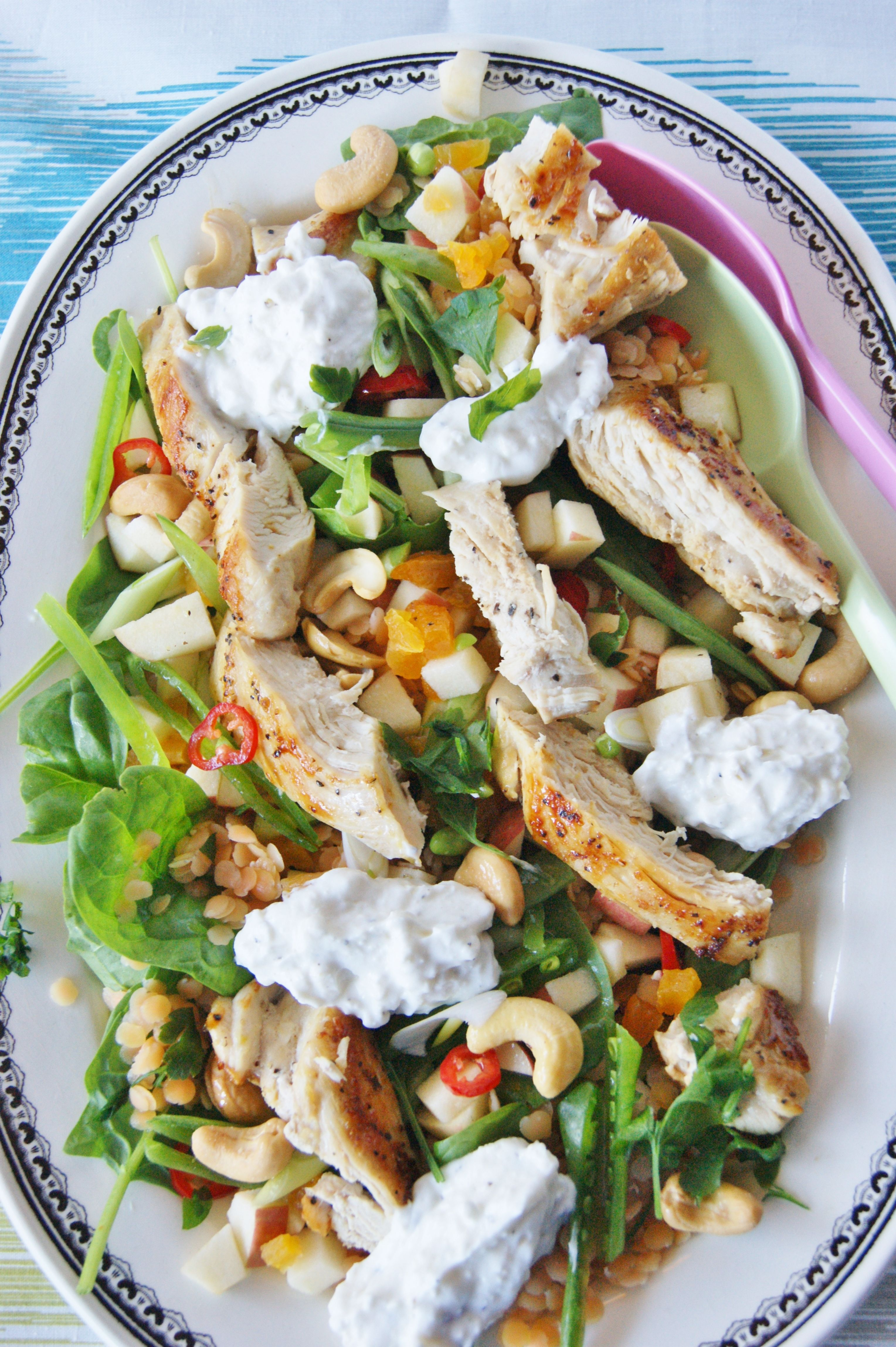 Chicken salad with lentils and feta cheese cream/ myfoodpassion.net