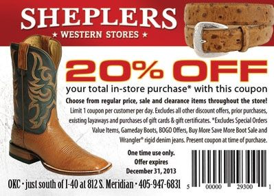 Boot Barn Promo Code For Christmas 2020 Save 20% on Western wear at Sheplers in Oklahoma City. | Travel