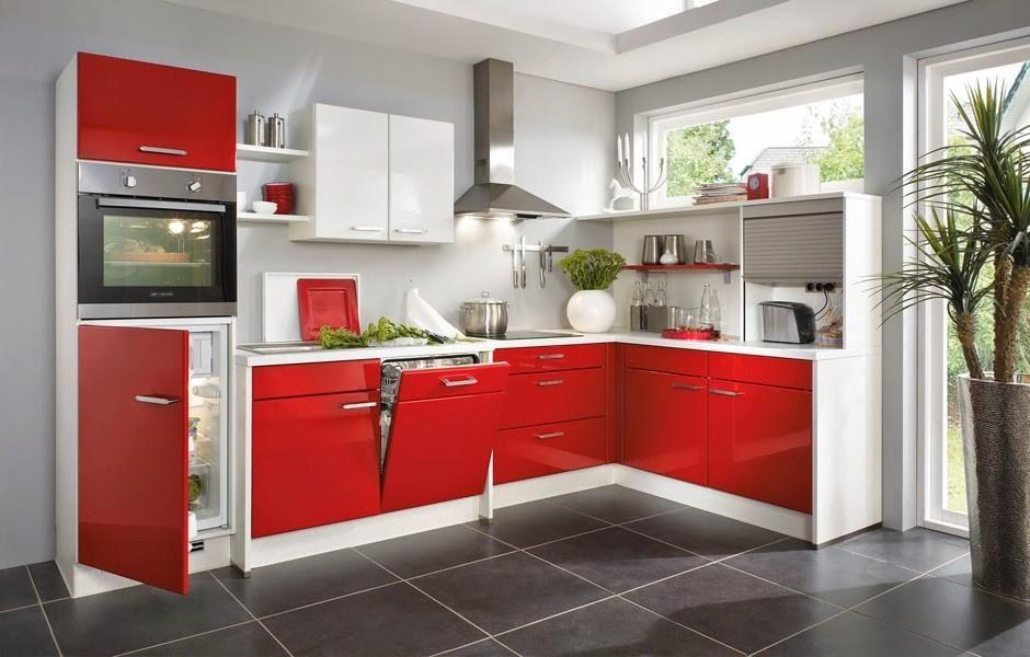 Cocinas integrales modernas rojas cocina moderna rojo gris for Cocinas enchapadas