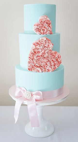Blue, Pink Hearts Cake