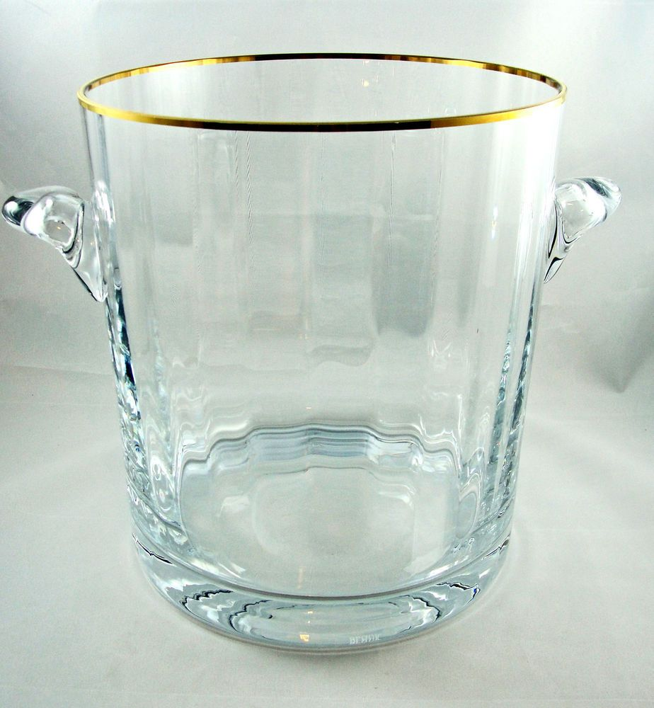 Block crystal clear ice bucket with handles gold trim 85 block crystal clear ice bucket with handles gold trim 85 elegant reviewsmspy