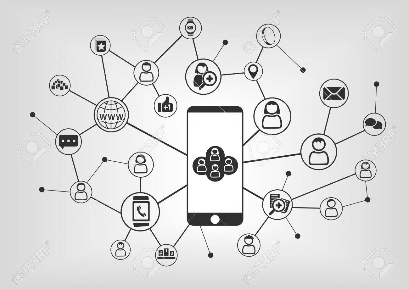 Smart Phone To Connect To Social Network Connected Devices And People As Vector Illustration With Icons Aff Social N Connected Devices Phone Networking