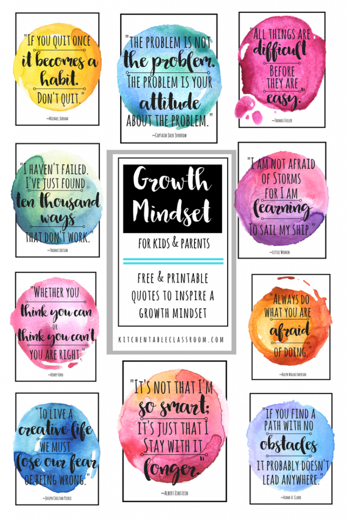 Growth Mindset Quotes for Kids & Parents - The Kitchen Table Classroom