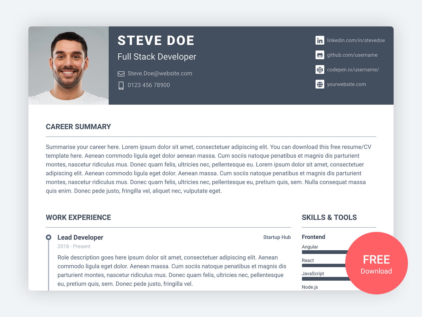 Pillar Free Bootstrap 4 Resume Cv Template For Developers Cv Template Resume Cv Resume