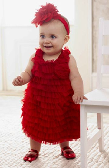 Red Ruffled Baby Holiday Dress | Lil baby, girls pageant & party ...