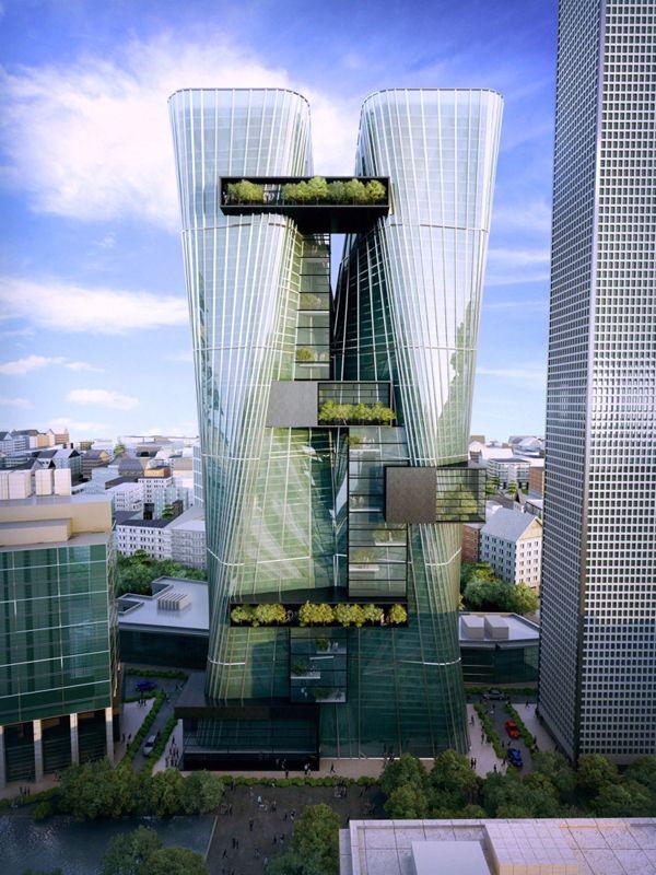 Sustainable, urban office architecture, Parramatta, Australia, tower, suspended, warp, city square, architectural competition