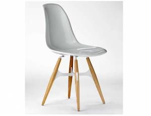 Zigzag sedia scocca in policarbonato trasparente o bianca. gambe