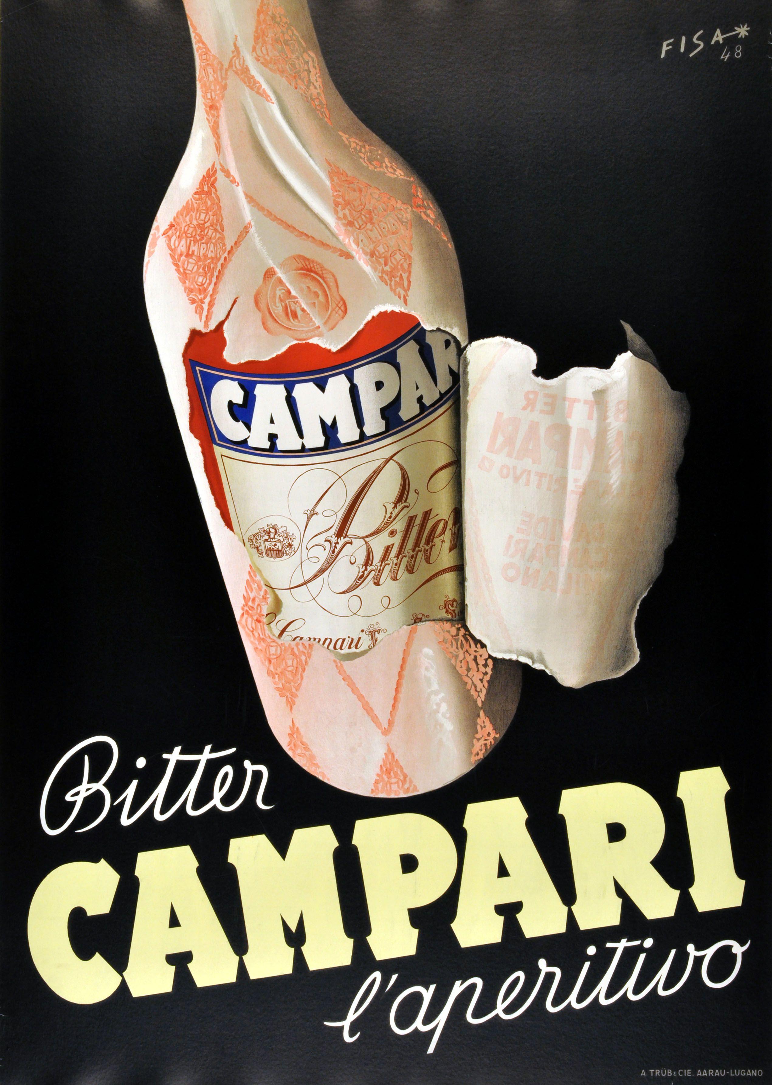 Campari Bitter Aperitif, 1948 - original vintage poster by Alois Fisarek listed on AntikBar.co.uk