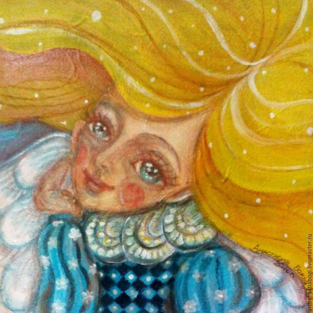 "Купить Картина ""Ангел мечтает..."", акрил, холст - желтый, голубой, ангел, мечты…"