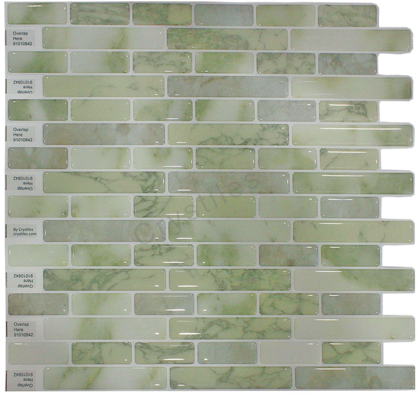 "Crystiles Peel and Stick Self-Adhesive Vinyl Wall Tiles, Item# 91010842, 10"" X 10"", 1 Sheet Sample"