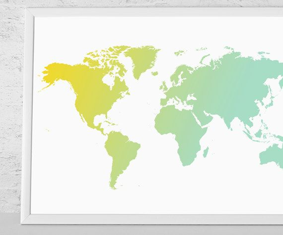 World map ombre art print yellow and mint world map by macanaz wall hanging world map large wall art world map silhoette modern wall art xlarge medium gumiabroncs Images