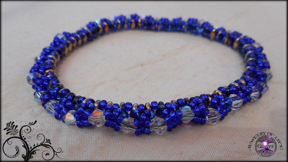 Sparkly Bangle Bracelet Blue and Black by JewelryOfLife on Etsy, $15.00