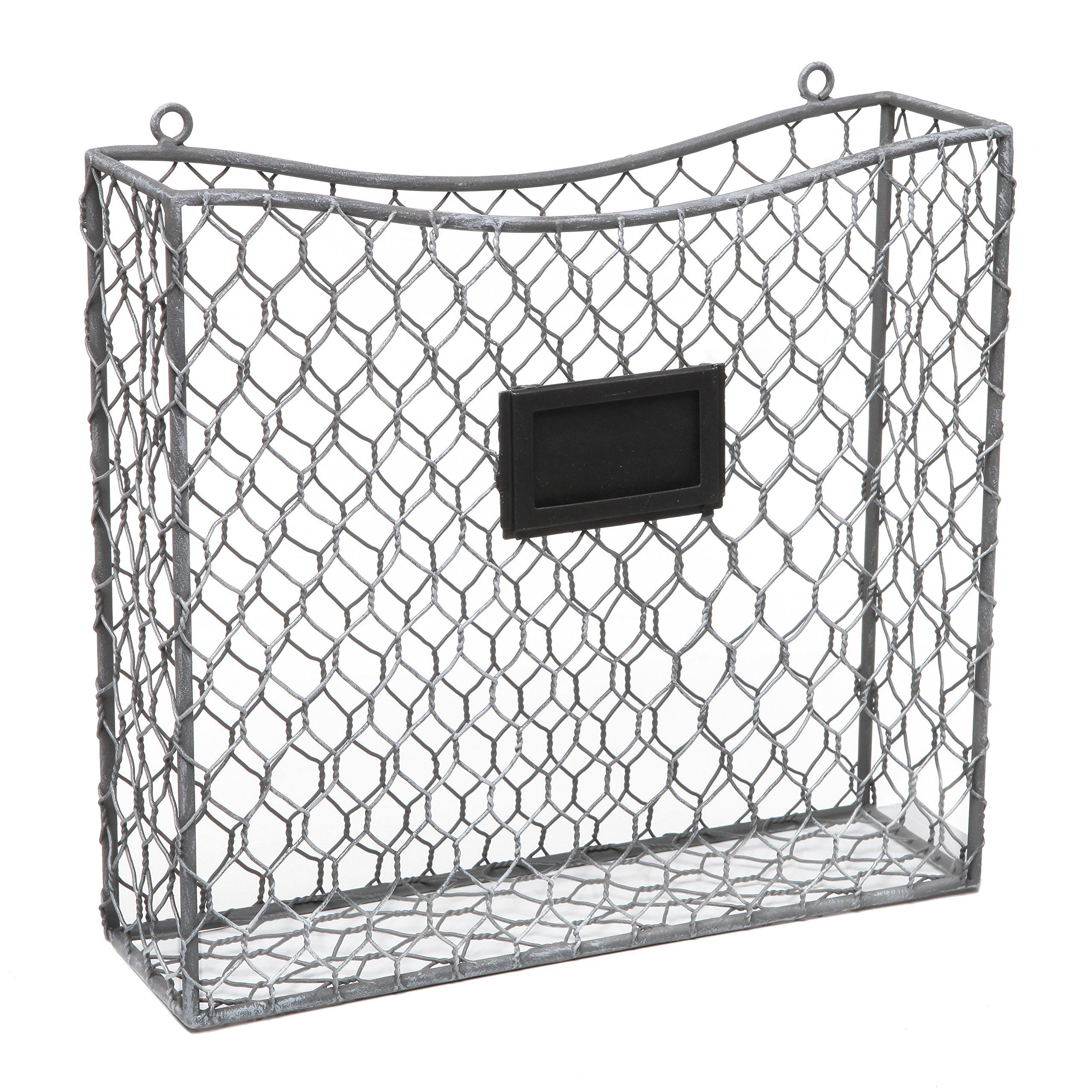 Amazon.com - Country Rustic Gray Metal Wire Wall Mounted Magazine ...