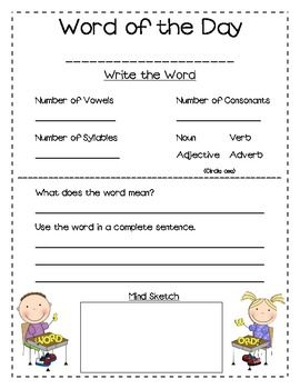 This Word Of The Day Worksheet Includes 2 Versions 1 With Noun Or Verb And 1 With Noun Verb Adjective Ad Teaching Reading Word Of The Day Teaching Literacy Word of the day worksheet