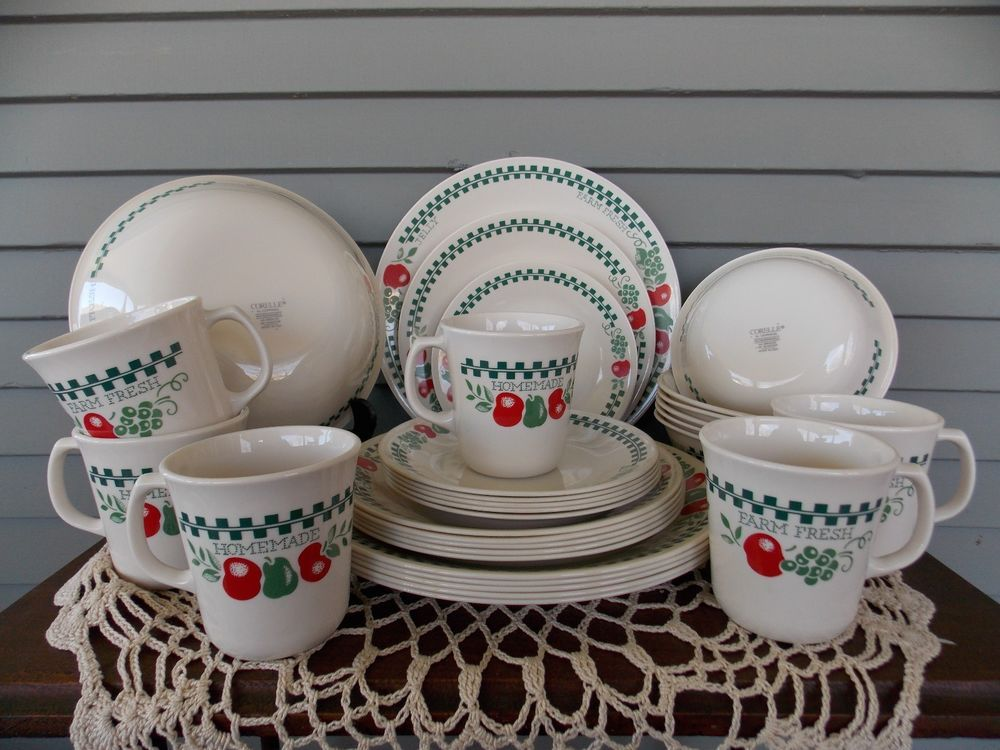 31 Piece Set Vintage Corning Corelle Farm Fresh Dinnerware Service for 6 & 31 Piece Set Vintage Corning Corelle Farm Fresh Dinnerware: Service ...
