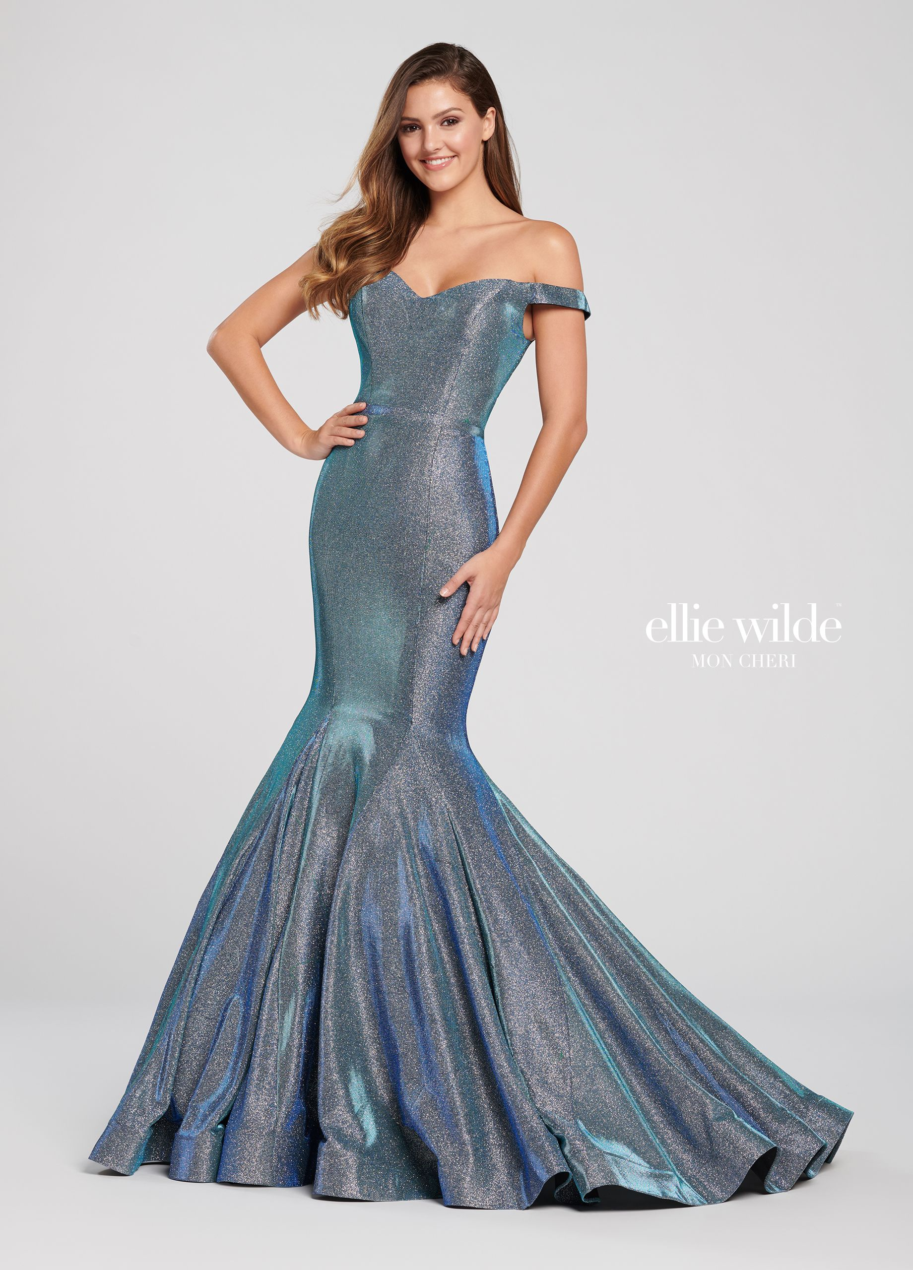 7cbaf343fb Ellie Wilde EW119061 - Live out your mermaid fantasies in this illuminating  off-the-shoulder novelty stretch glitter mermaid gown with princess lines