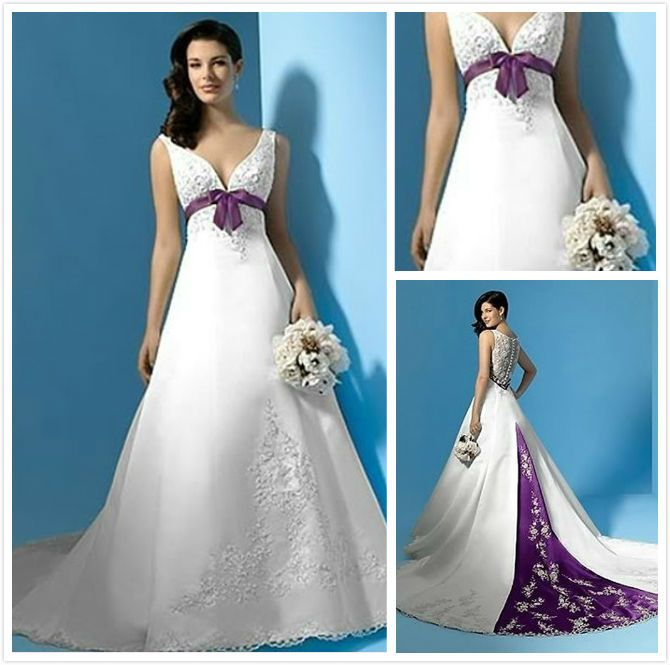 Purple And Ivory Wedding Dresses With Color Accents Satin Slip