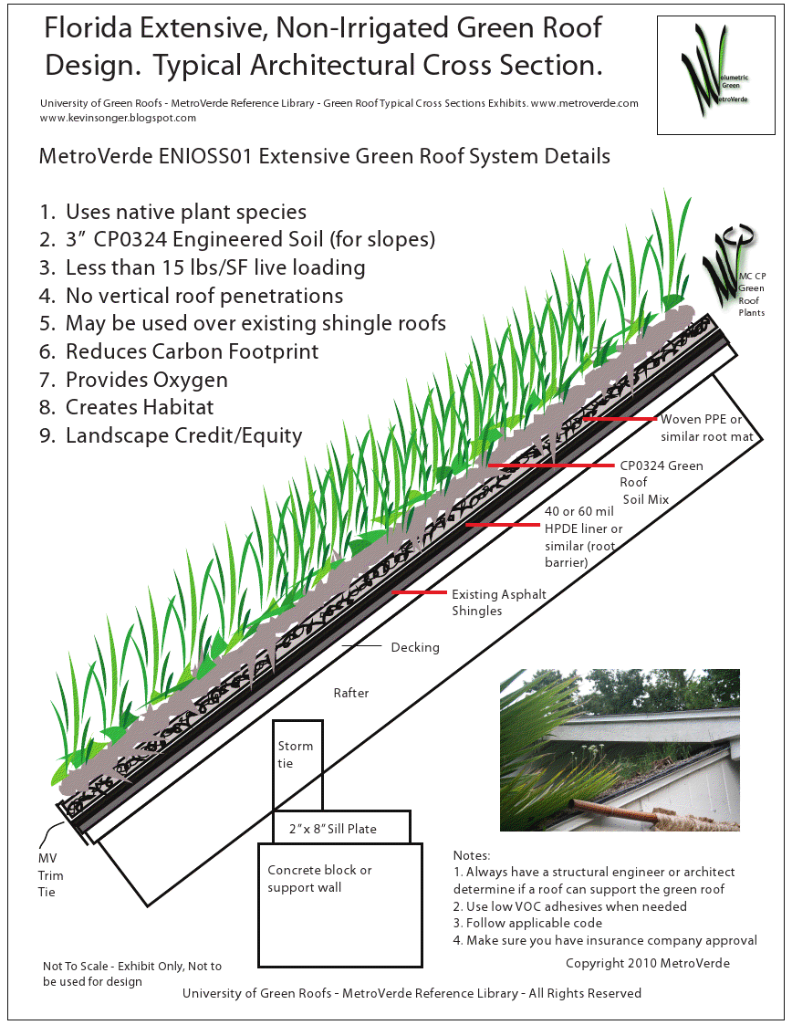 Green Roof Cross Section Extensive Over Shingles Sloped Metroverde Enioss01 Green Roof Design Green Roof Green Roof System