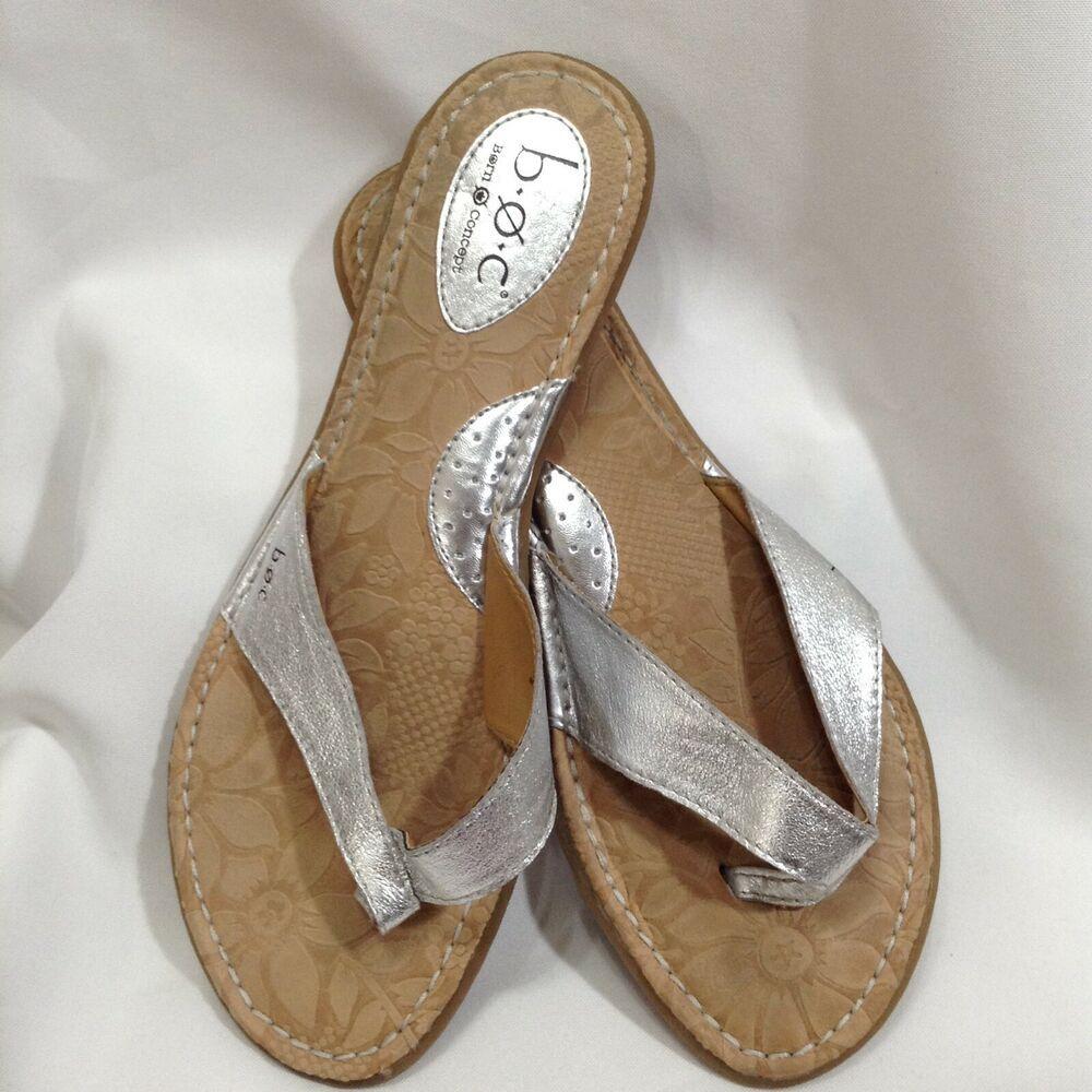 d4cd3cb37a9 BOC BORN Concept 9 MW Silver Metallic Leather Thong Sandals Flip Flops  Shoes  BORN  FlipFlops  Casual