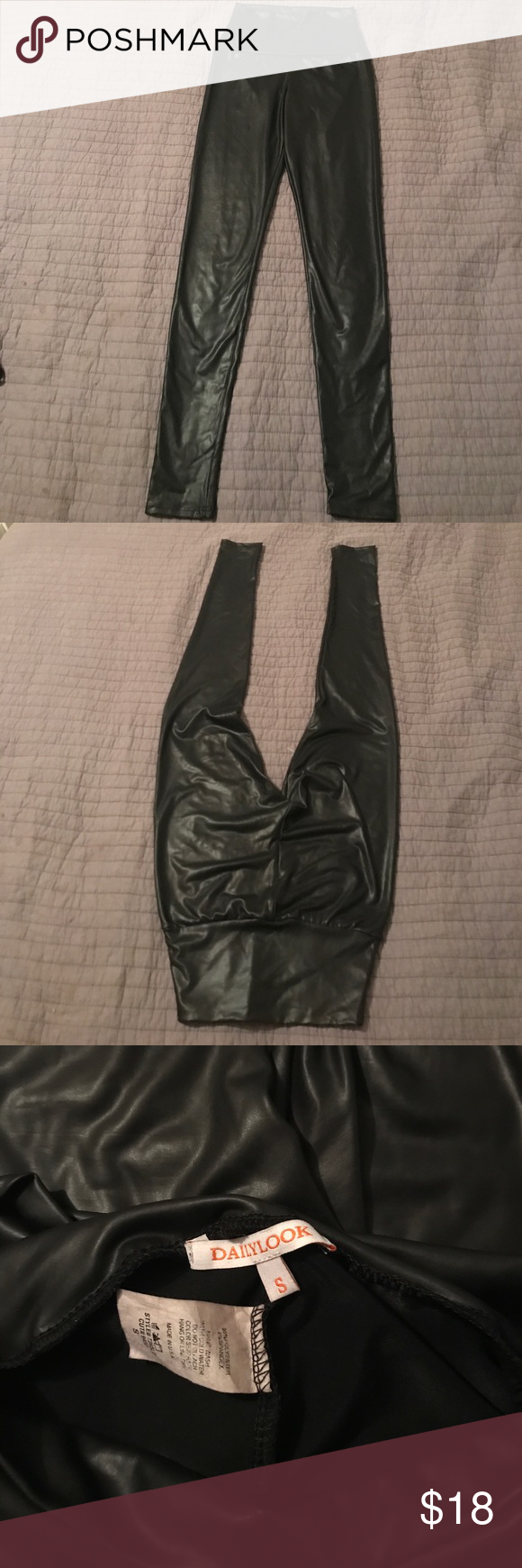 Faux leather leggings Faux leather leggings worn and washed once Pants Leggings