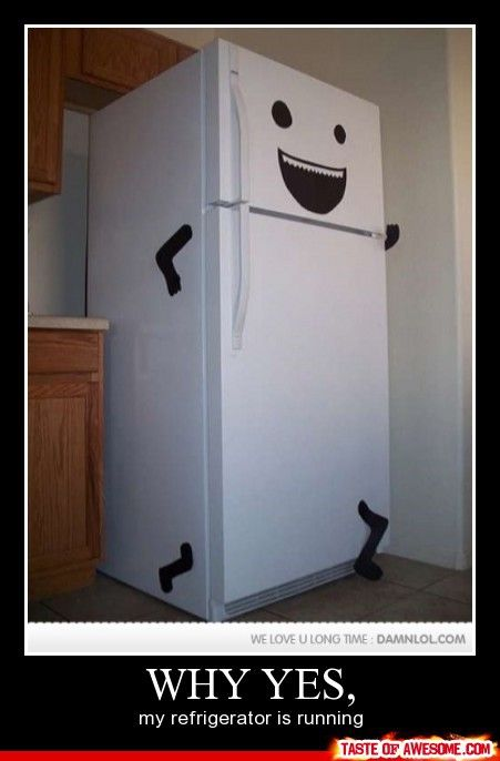 Is your refrigerator running? How funny! This would be fun to do if you were having friends over for Halloween. Even your house can dress up!