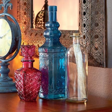 Global Fusion Collection Blue Glass Bottle Dunelm Mill Blue
