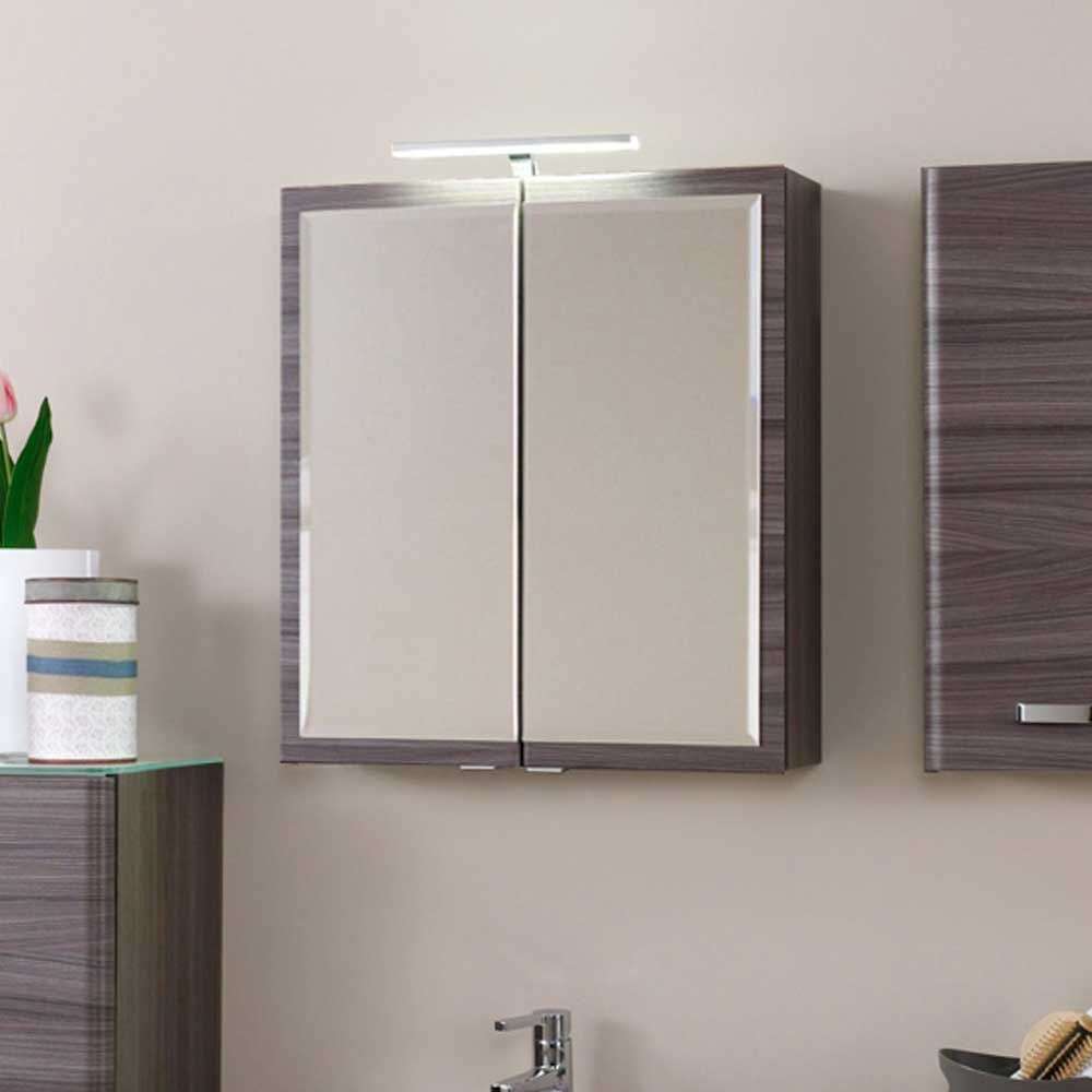 Badezimmer Spiegelschrank mit LED Aufbauleuchte Eiche dunkel Jetzt
