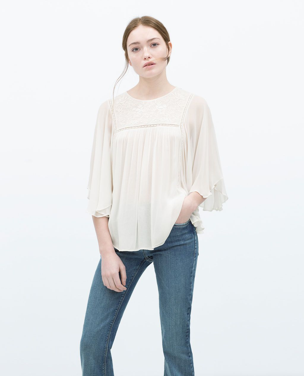 Image 2 of EMBROIDERED TOP from Zara | Portmanteau | Top bordado ...