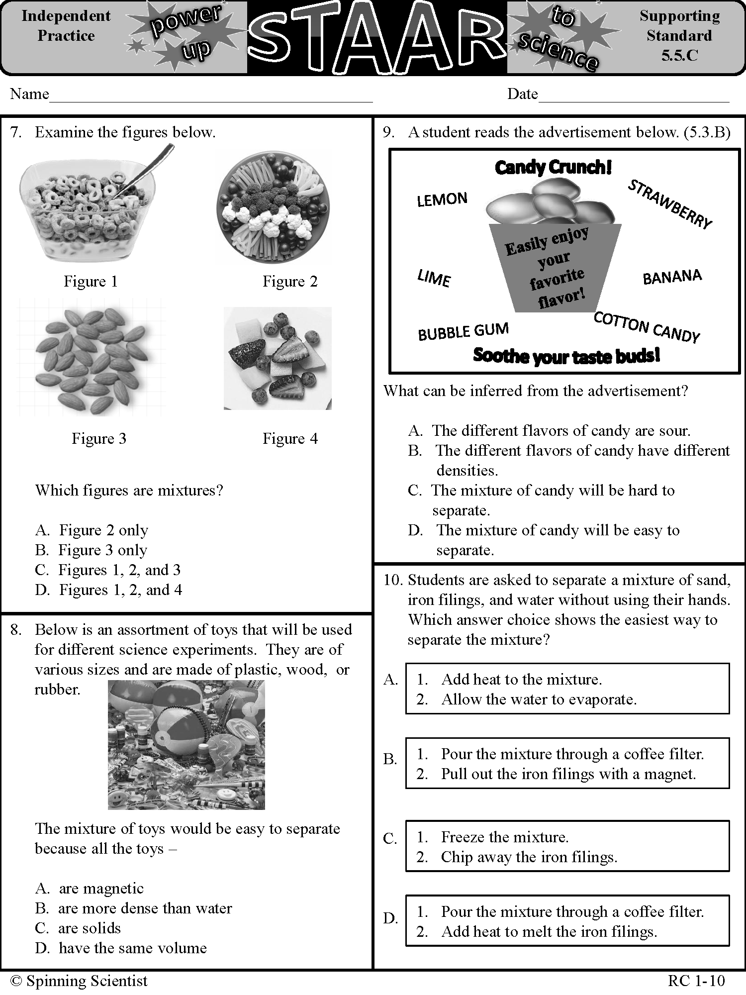 5th grade science STAAR practice: Reporting category 1-matter and energy   Science  staar [ 2000 x 1500 Pixel ]