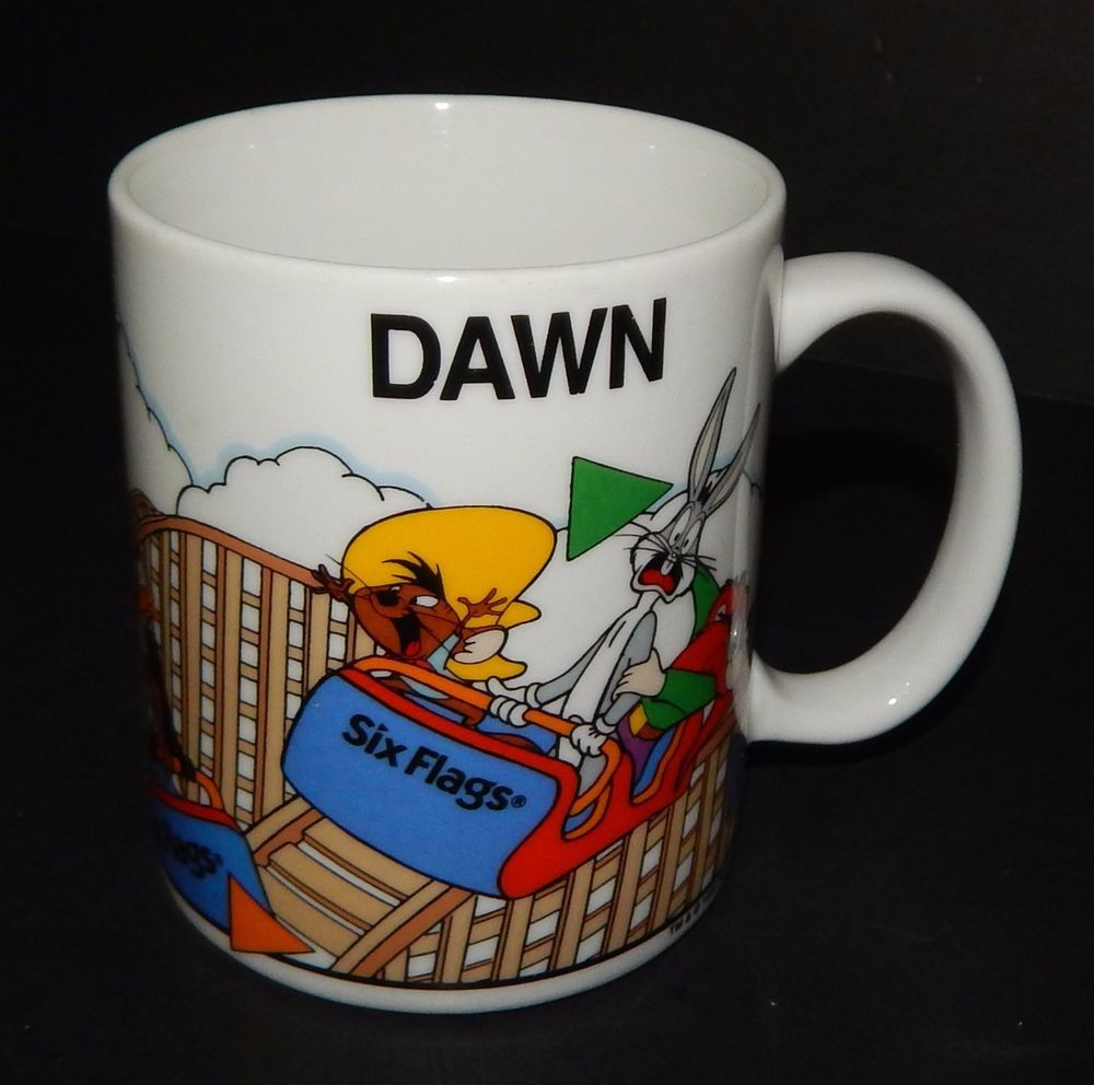 Personalized Looney Tunes Six Flags Roller Coaster Name Mug Cup With Dawn Name Mugs Roller Coaster Names Six Flags
