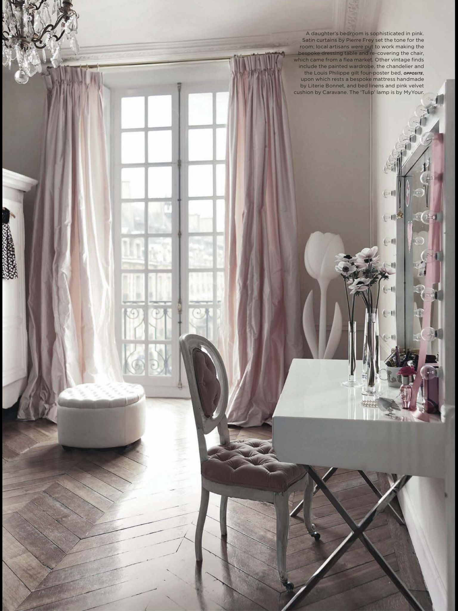 Blush curtains with grey walls and wooden floor pattern glamor elegance fabulous vanity room