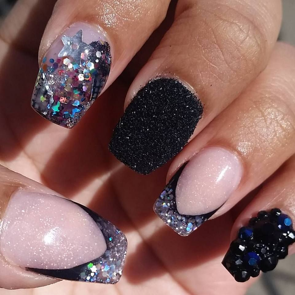 black stones, black raw glitter, silver glitter, encapsulated confetti junk  nail - Black Stones, Black Raw Glitter, Silver Glitter, Encapsulated