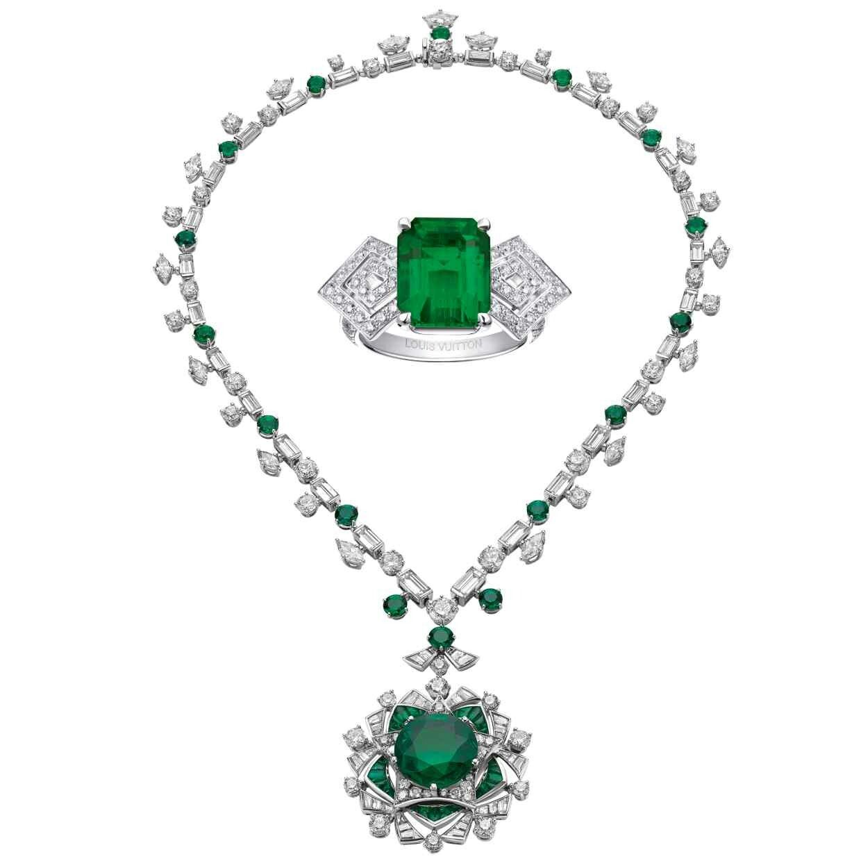 2ef7691038e Bulgari Necklace with emeralds and diamonds and a Louis Vuitton ring with  emeralds and diamonds