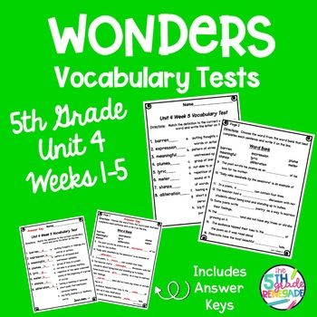 Wonders Vocabulary Tests 5th Grade Unit 4 Weeks 1-5 ...