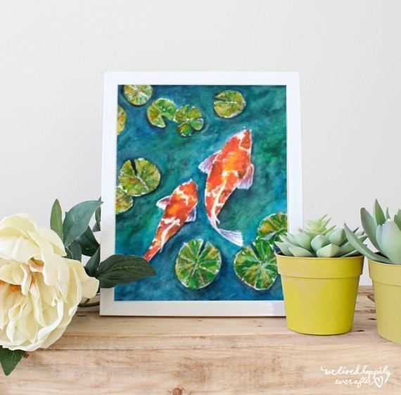 Koi Fish Print, Koi Fish Painting, Koi Painting Print, Koi Fish Home Decor