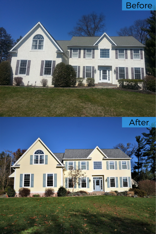 For This Home Renovation In Blue Bell Pa We Replaced The Home S Existing Stucco Siding Wood Windows And Asphalt Shingles Fiber Cement Is Alw With Images Roofing Options