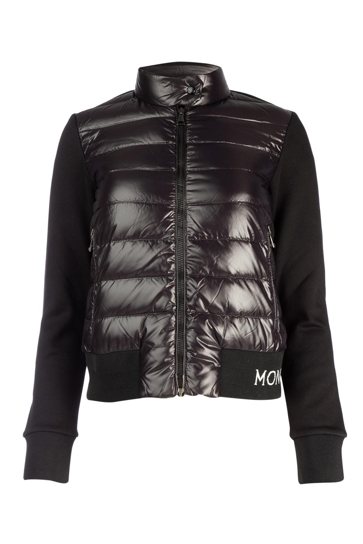 Moncler Techno Down & Cotton Blend Knit Jacket In Black