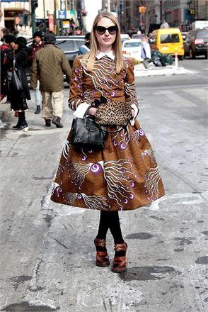 Pretty printed dress on the street during New York Fashion week.